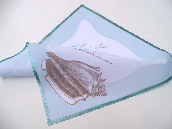 Beach wedding handkerchief with conch shell