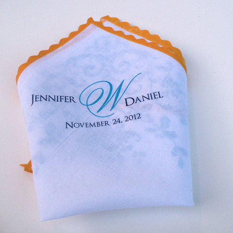 Autumn acorns personalized wedding handkerchief