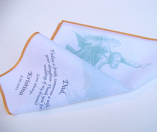 Men's wedding handkerchief with flying man