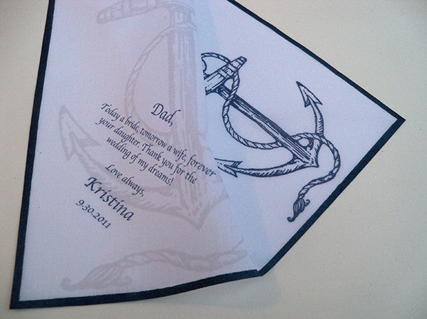 Men's personalized wedding handkerchief with anchor and custom text