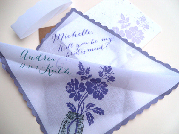 Will you be my bridesmaid wedding handkerchief