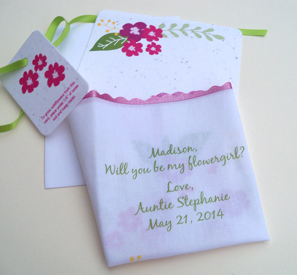 Flower girl wedding handkerchief, will you be my flower girl. Handmade by Artful Beginnings