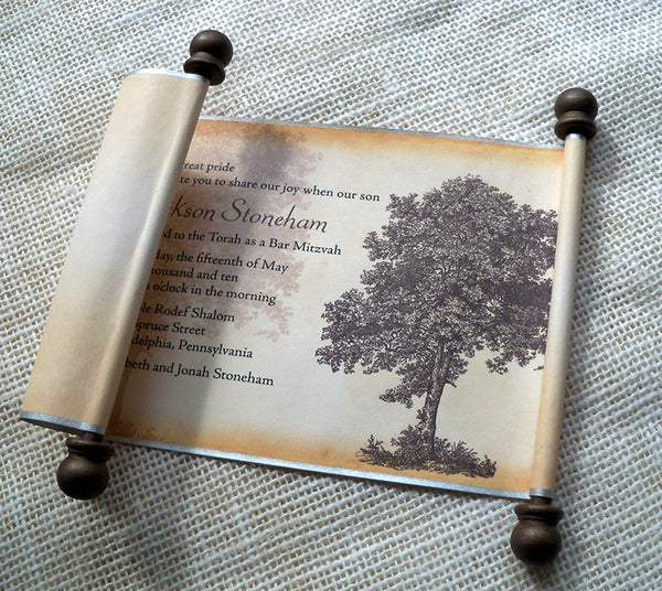 Oak tree Bar Mitzvah or Bat Mitzvah invitation scroll, set of 10