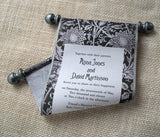 Classic black tie wedding invitation scrolls with metallic pewter, set of 10 scrolls