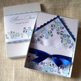 Wedding invitation handkerchiefs, bachelor button flowers