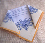 Floral wedding invitation handkerchief, romantic castle wedding, in purple and lemon yellow, set of 10