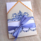French Baroque wedding invitation handkerchief suite, boxed