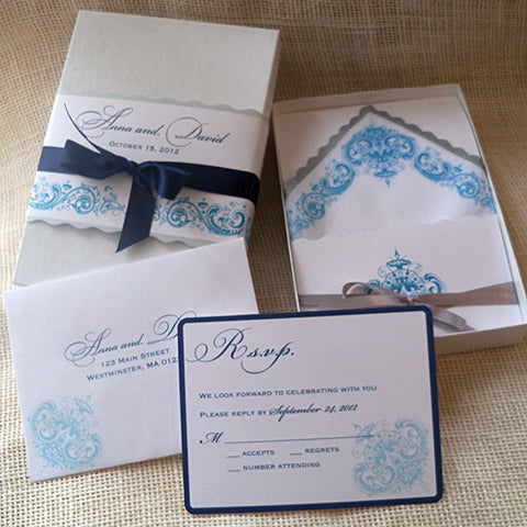 Wedding invitation handkerchief suite with a romantic antique flower design, boxed set