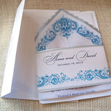 Wedding invitation handkerchief suite with antique damask flowers