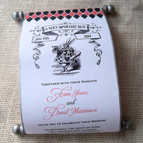 Alice in Wonderland wedding invitation scroll, set of 10