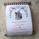 Alice in Wonderland wedding invitation scroll, set of 5 scrolls