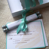 Destination beach wedding invitation suite with scroll, reply card and extra insert, with mailer boxes, conch shell design