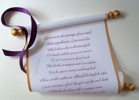 "Wedding vows, secret message, theater prop, or anniversary keepsake, custom printed scroll on 8x18"" cotton fabric"