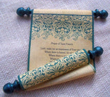 Prayer scroll on fabric, Prayer of Saint Francis, teal damask