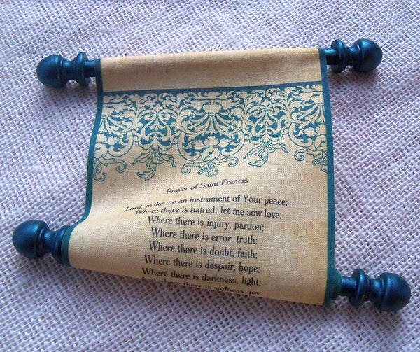 Prayer of Saint Francis, Christmas Prayer scroll on fabric, teal damask