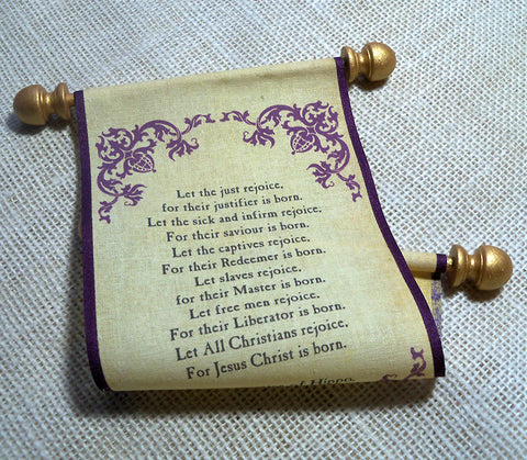 Prayer scroll on fabric, Prayer of Saint Augustine of Hippo, burgundy corner damask