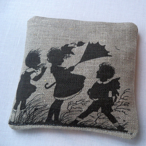 Lavender sachet, natural linen, vintage silhouette of children with umbrella