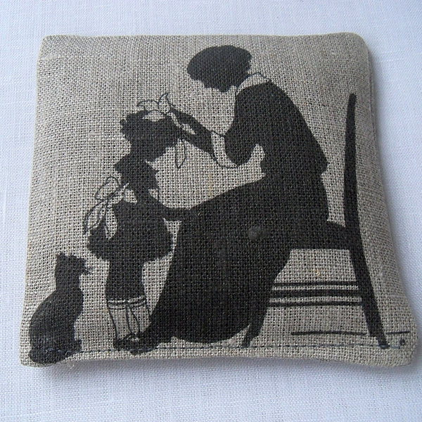 Lavender sachet, natural linen, vintage silhouette of mother and daughter