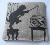 Lavender sachet, natural linen, vintage silhouette of cat with fish bowl