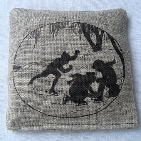 Lavender sachet, natural linen, vintage silhouette of children skating