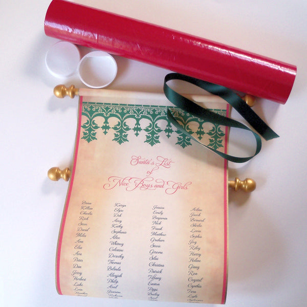 Santa Claus list of Nice Boys and Girls, wide parchment scroll, 8x19 inch paper