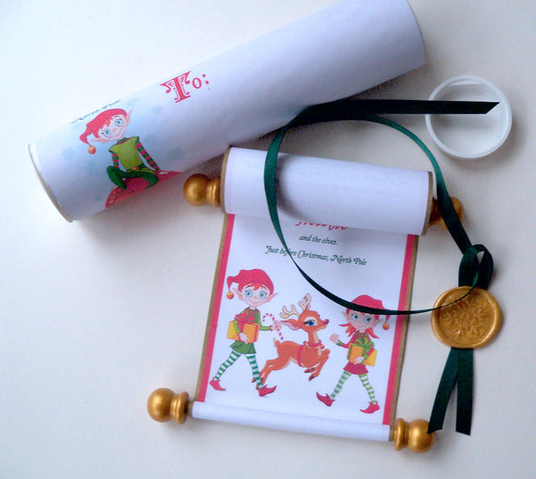 Santa's Naughty or Nice list, Santa's helper letter, Christmas scroll, miniature letter from elf