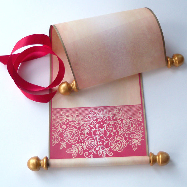 "Small blank aged parchment paper scroll with red lace border, for your handwritten letter or message, 5x12"" paper"