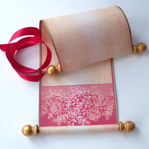 "Valentine's Day blank aged parchment paper scroll with red lace border, for your handwritten letter or message, 5x12"" paper"