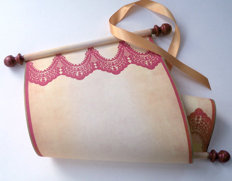 "Large blank scroll with red lace print, for your hand written note, 8x19"" parchment paper with dark red finials"