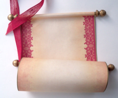 "Blank aged parchment paper scroll with red lace border, for your handwritten letter or message, 8x19"" paper"