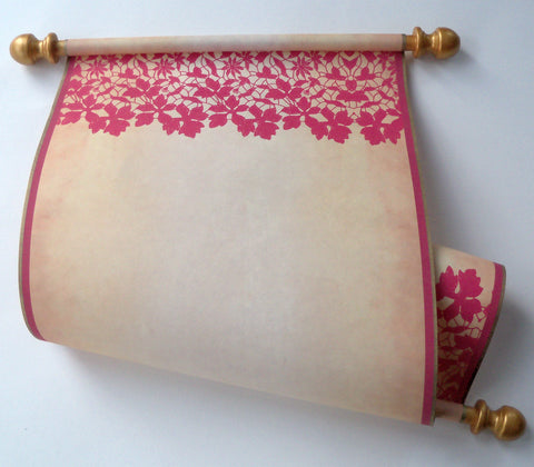 "Blank scroll with red lace, for your handwriting, 8x19"" parchment paper"