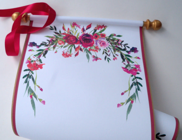 "Wedding guest scroll with red roses, ceremony scroll for signatures, 8x19"" paper"