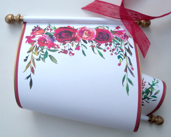 "Ceremony scroll with red flowers, for your guests handwritten notes and well wishes, 8x19"" white cotton paper"