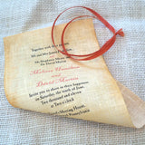Message in a bottle wedding invitations with mailer box and reply card, linen fabric scroll