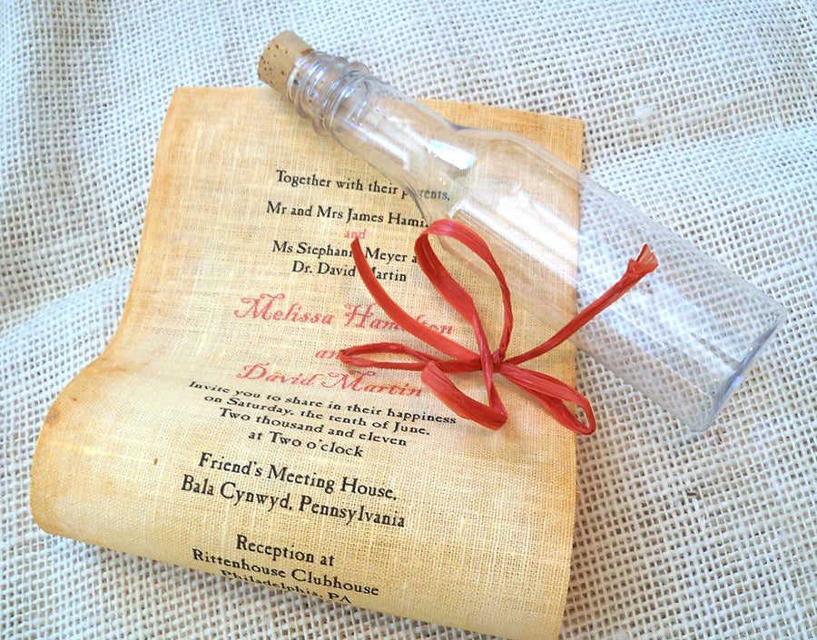 Message in a bottle wedding invitations with mailer box and reply
