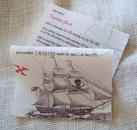 Pirate scroll birthday invitations on canvas fabric with mailing tubes, set of 5