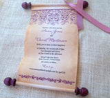 Elegant wedding invitation scrolls with aubergine damask, set of 5 scrolls
