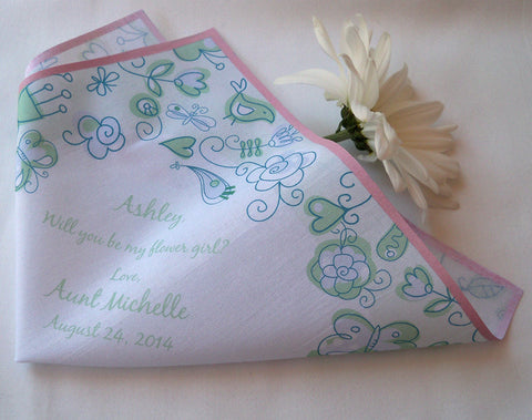 Flower girl wedding handkerchief, modern flowers by Artful Beginnings
