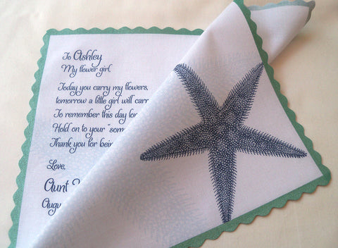 Flower girl handkerchief with starfish by Artful Beginnings