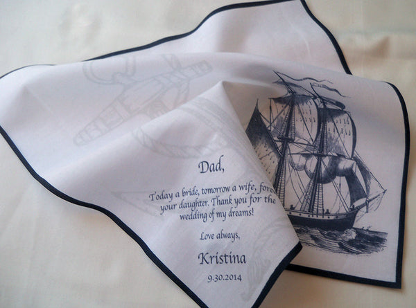 Men's personalized wedding handkerchief with sail ship and custom text