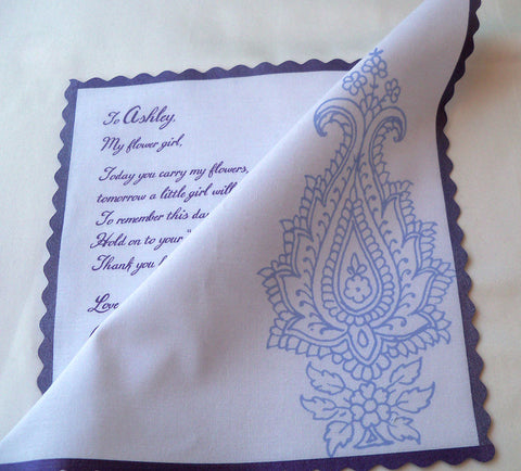 Flower girl wedding handkerchief, lavender paisley by Artful Beginnings