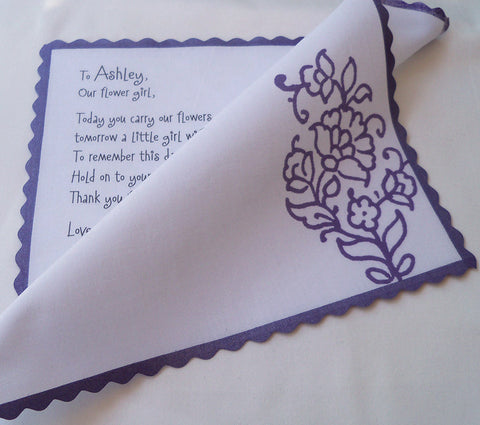 Flower girl handkerchief with paisley by Artful Beginnings