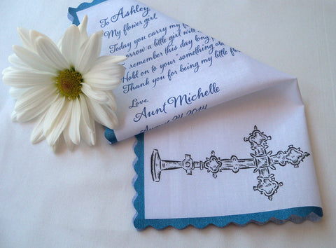 Flower girl wedding hankerchief with cross. Handmade by Artful Beginnings