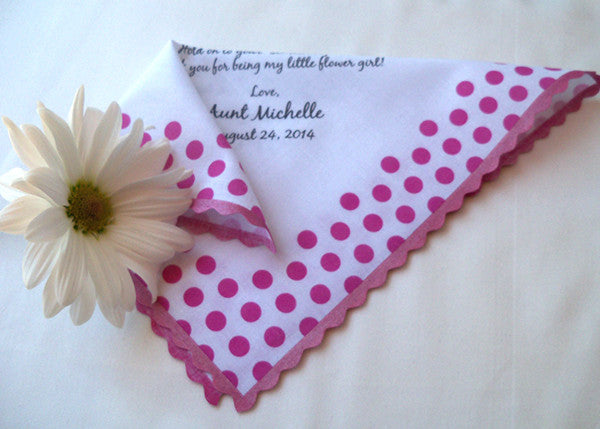 Polkadotted flower girl handkerchief for your wedding by Artful Beginnings