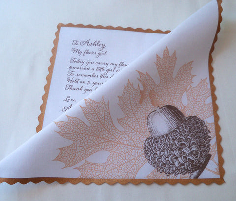 Acorn flower girl handkerchief by Artful Beginnings