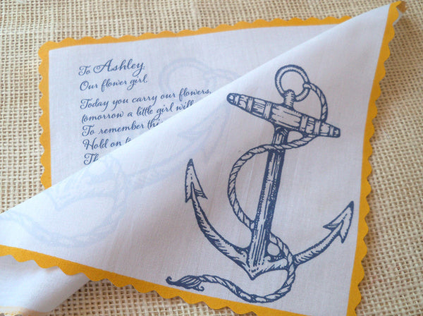 Anchor flower girl handkerchief by Artful Beginnings