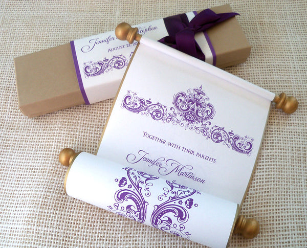 Storybook wedding invitation scrolls in gold and aubergine, boxed