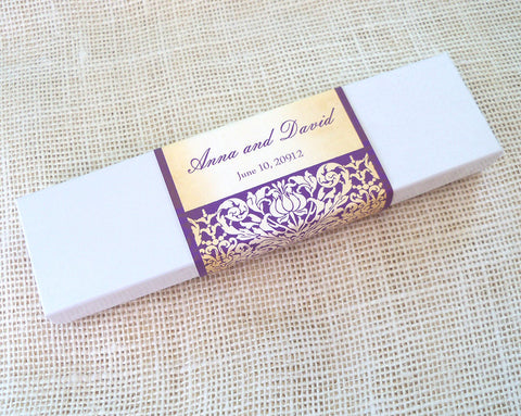 Castle wedding invitation scroll, stencil damask in aubergine and gold, white box