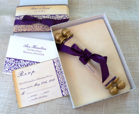 Damask wedding invitation scroll suite in a box