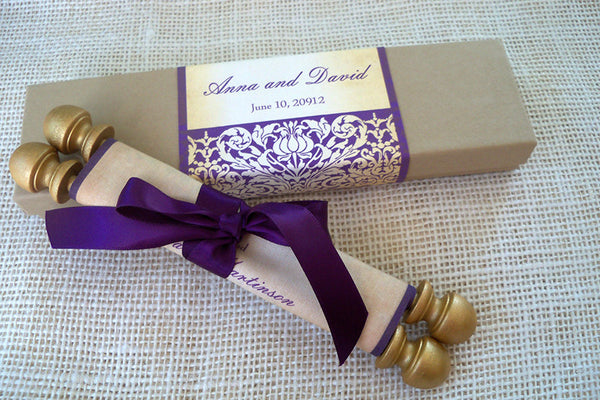 Medieval castle wedding invitation scroll with damask design in aubergine and gold, boxed